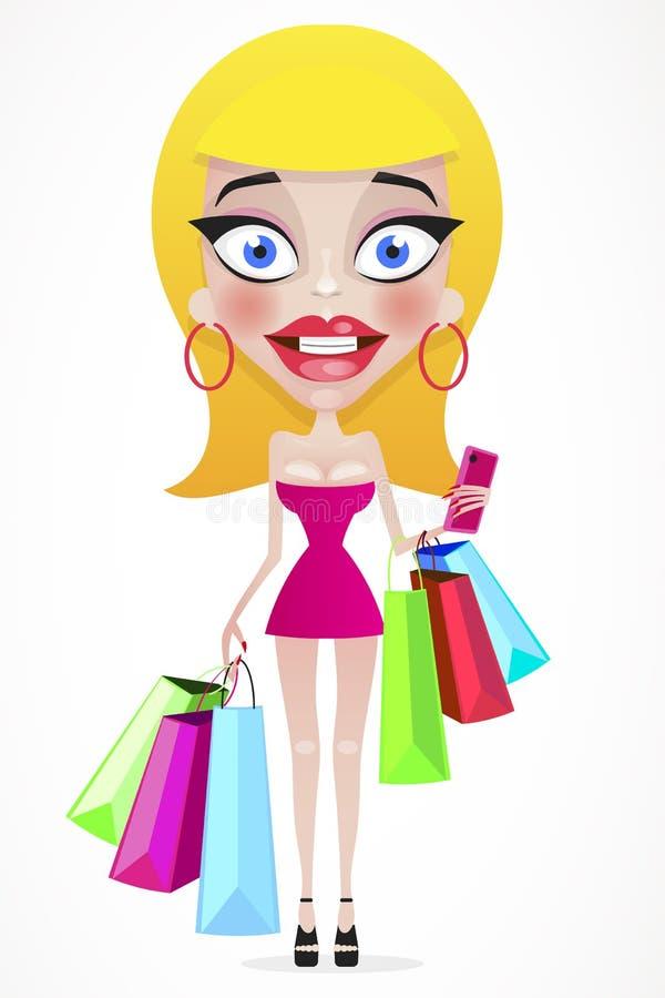 Menina feliz com os sacos de compras na loja ilustração do vetor