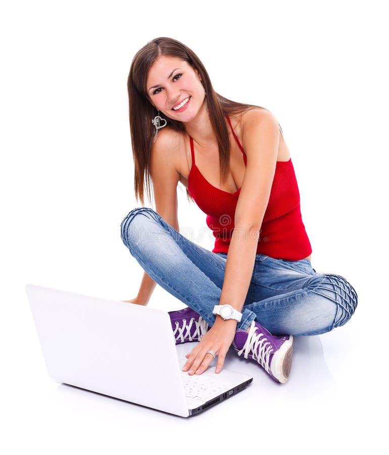 Menina feliz com portátil imagens de stock
