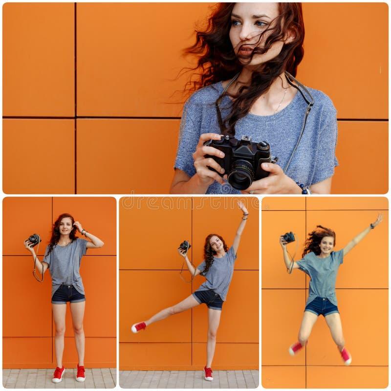 Menina feliz da colagem com câmera retro fotografia de stock royalty free