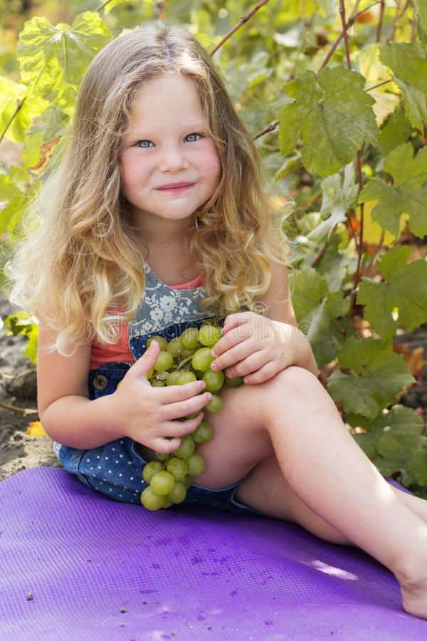 Menina feliz da criança com as uvas no vinhedo do outono foto de stock
