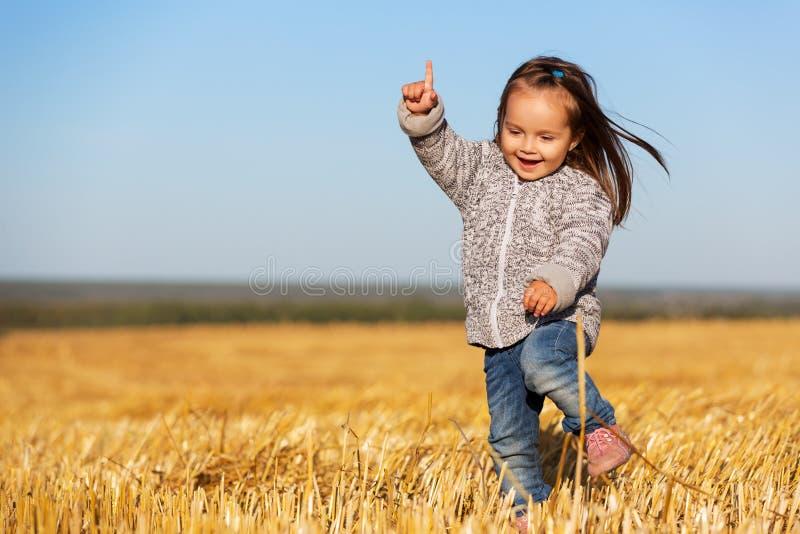 A menina feliz da criança de dois anos que anda em um verão colheu o campo fotografia de stock