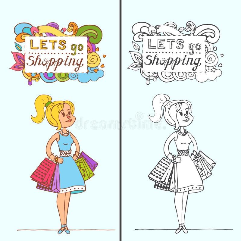 Menina feliz da garatuja com os sacos de compras na loja Cliente vendas ilustração stock