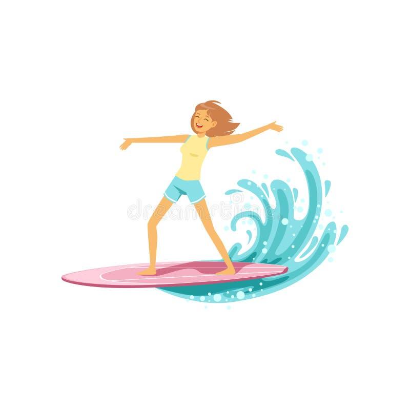 A menina feliz da ressaca com a prancha que monta uma onda, molha o esporte extremo, ilustração do vetor das férias de verão ilustração do vetor