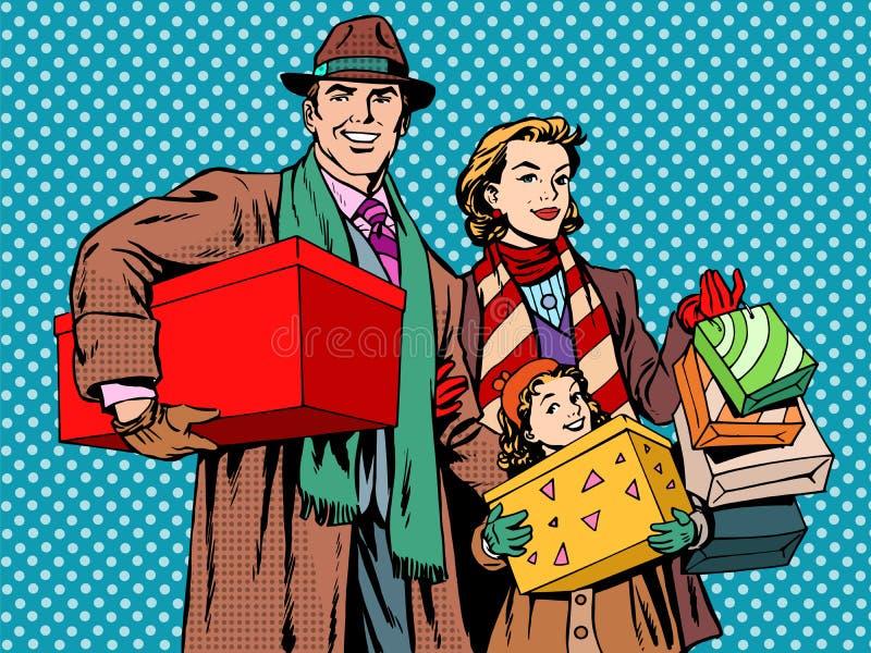 Menina feliz de compra da mamã do paizinho da família ilustração do vetor