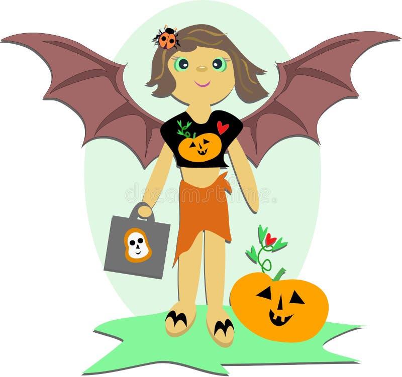 Menina feliz de Halloween com saco do deleite ilustração royalty free