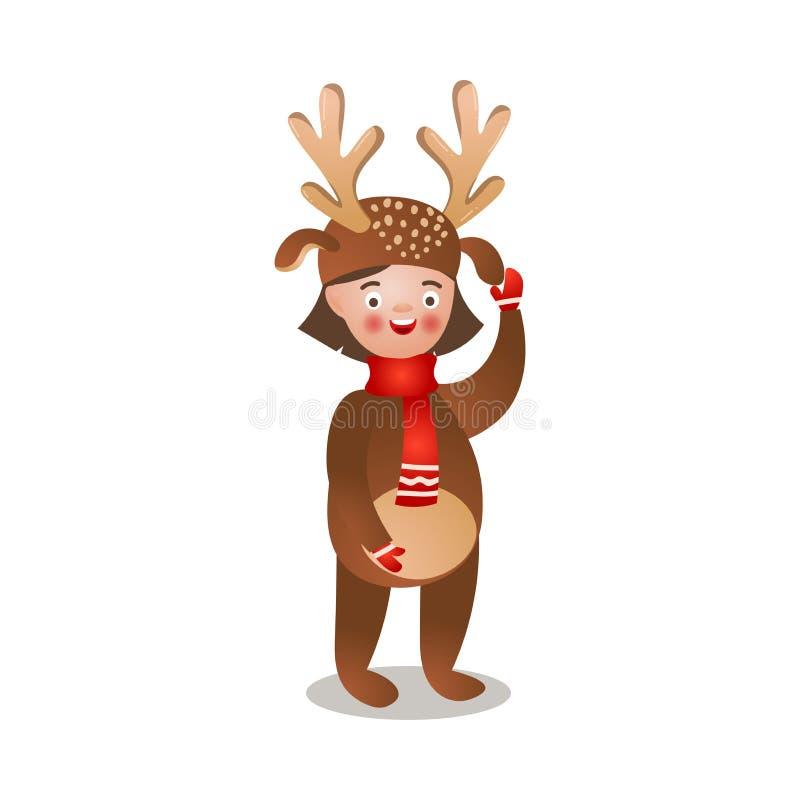 Menina feliz de sorriso bonito com o traje vermelho do lenço e dos cervos ilustração do vetor