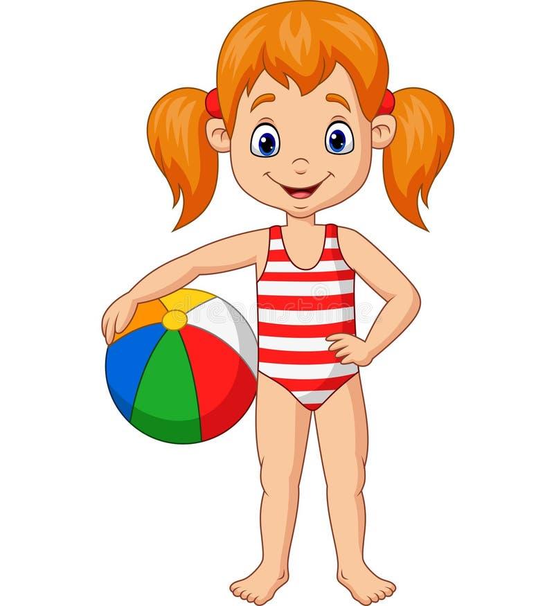 Menina feliz dos desenhos animados que guarda uma bola de praia ilustração royalty free
