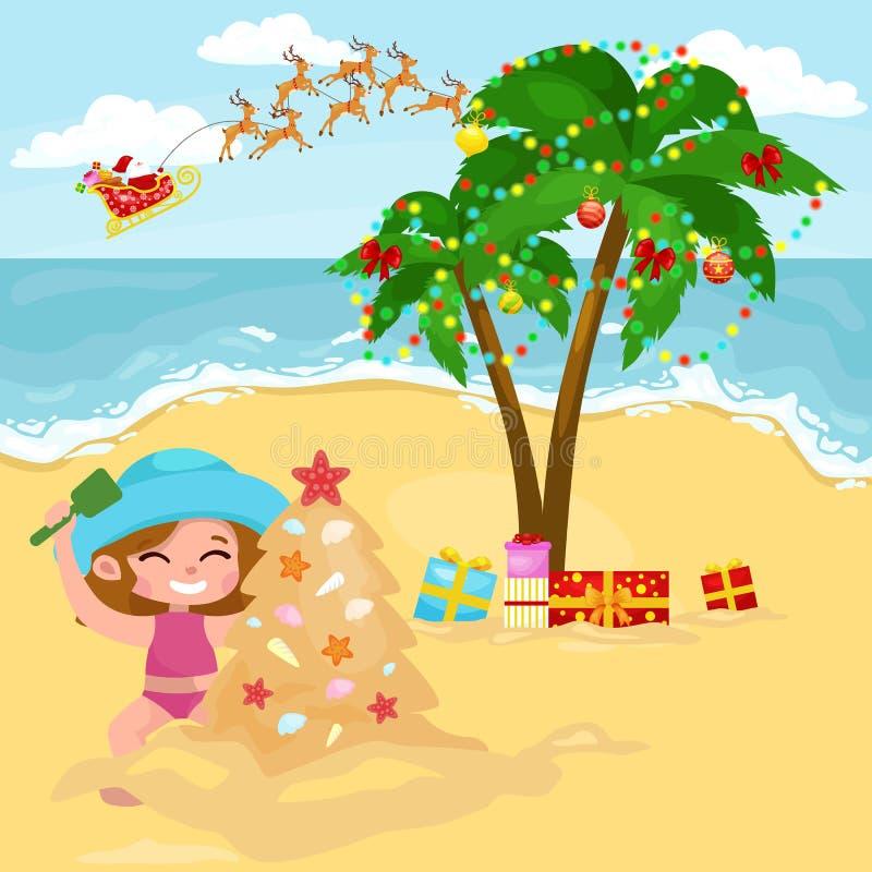 Menina feliz dos desenhos animados que joga na areia e na árvore de abeto de construção do Natal ilustração royalty free