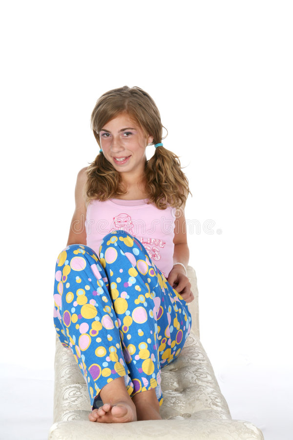 Menina feliz dos pijamas imagens de stock royalty free