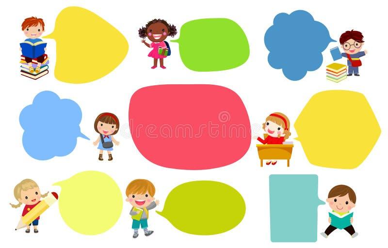 Menina feliz e menino que falam uma mensagem, com o balão de discurso vazio ilustração do vetor