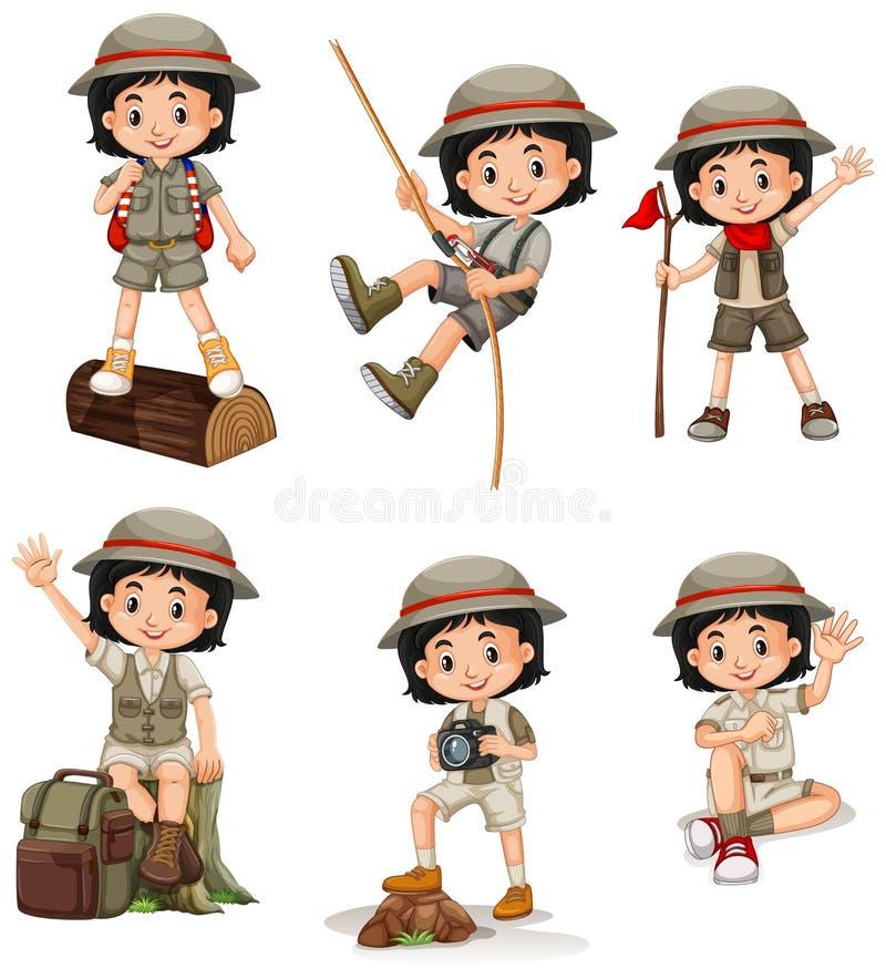 Menina feliz em ações diferentes ilustração stock
