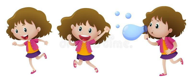 Menina feliz em três ações ilustração do vetor