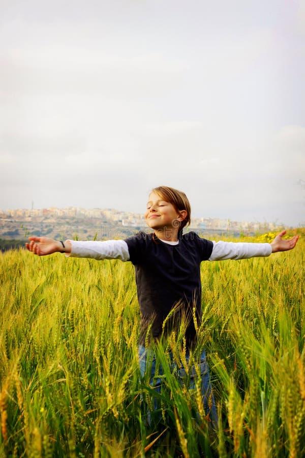 Menina feliz em um campo imagens de stock royalty free