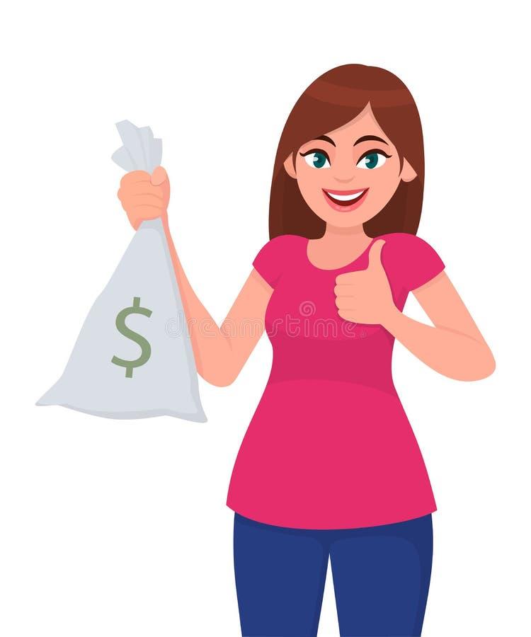 Menina feliz, mulher ou terra arrendada/gesticular dinheiro fêmea mostrar, dinheiro, saco da nota da moeda com ícone e mostrar do ilustração do vetor