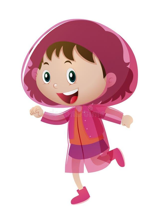 Menina feliz na capa de chuva cor-de-rosa ilustração do vetor