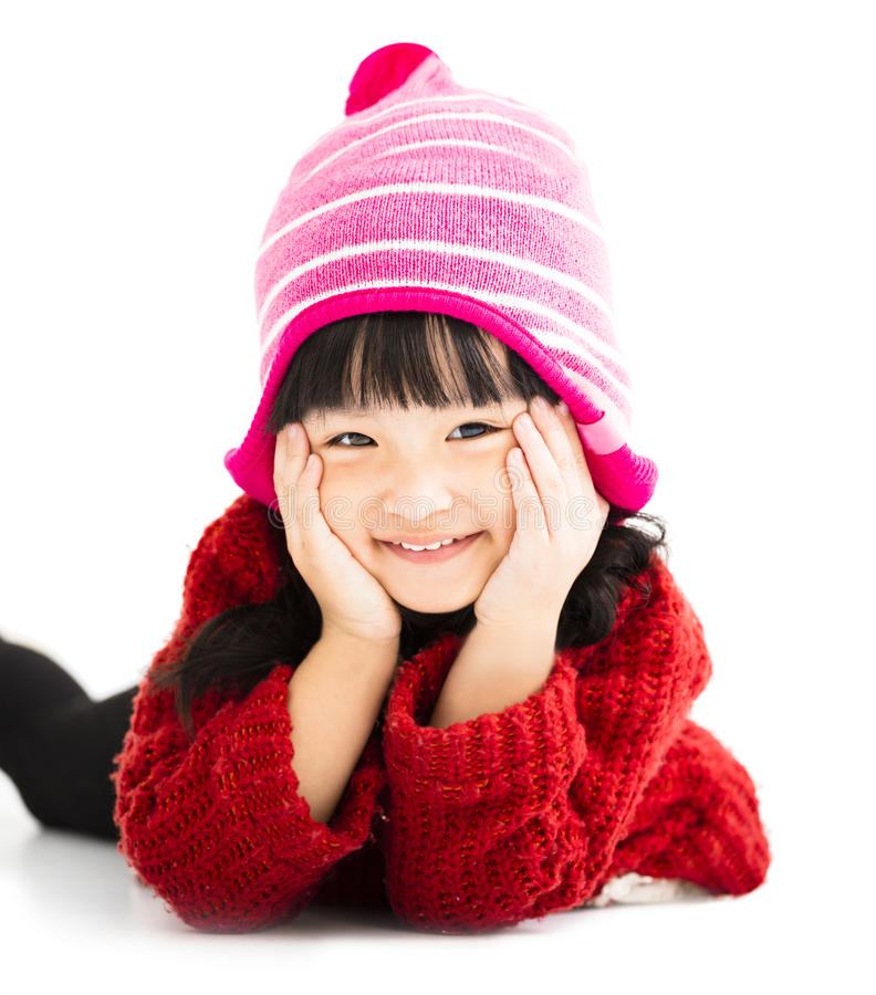 Menina feliz no desgaste do inverno fotografia de stock