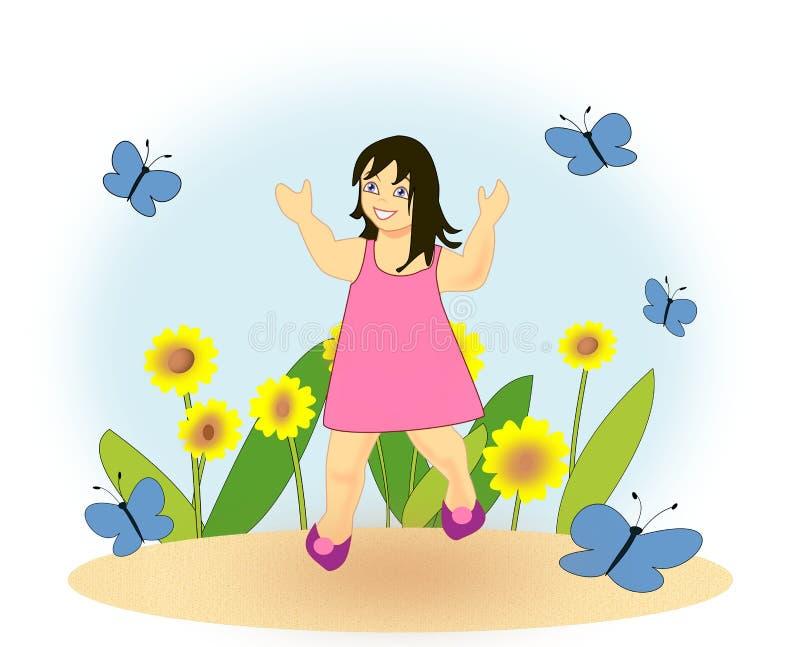 Menina feliz no jardim ilustração stock