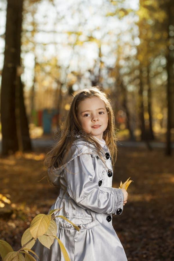 Menina feliz no outono das folhas imagem de stock royalty free