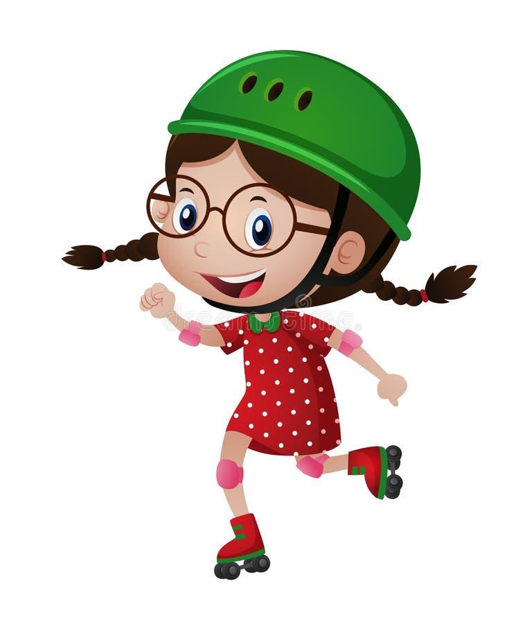 Menina feliz no rollerskating verde do capacete ilustração royalty free