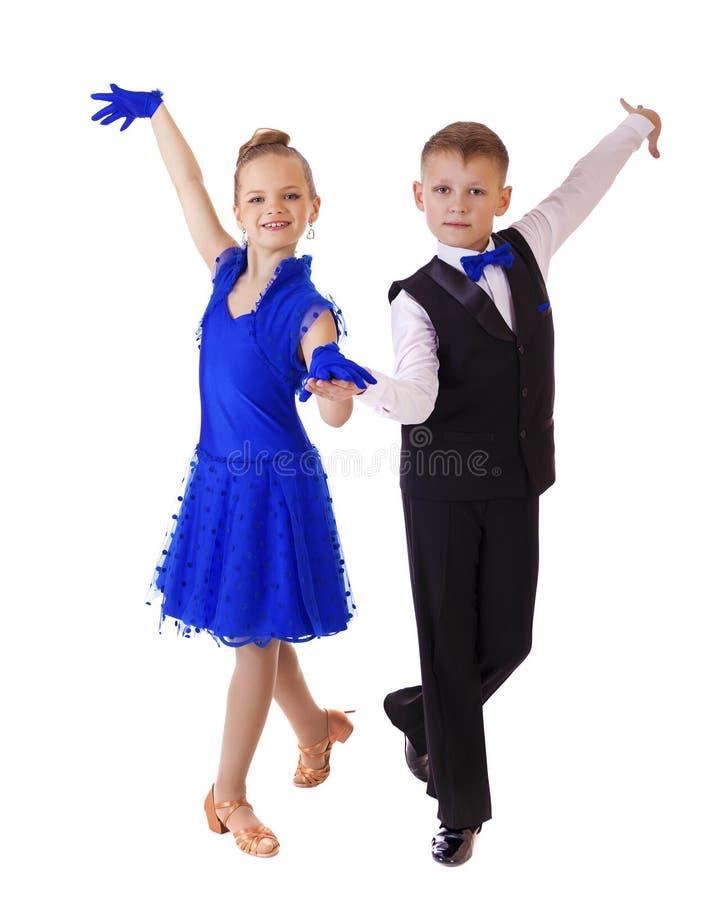 Menina feliz no vestido azul da dança fotografia de stock royalty free