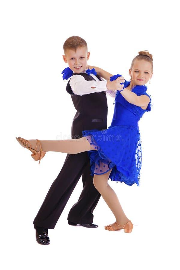 Menina feliz no vestido azul da dança imagem de stock royalty free