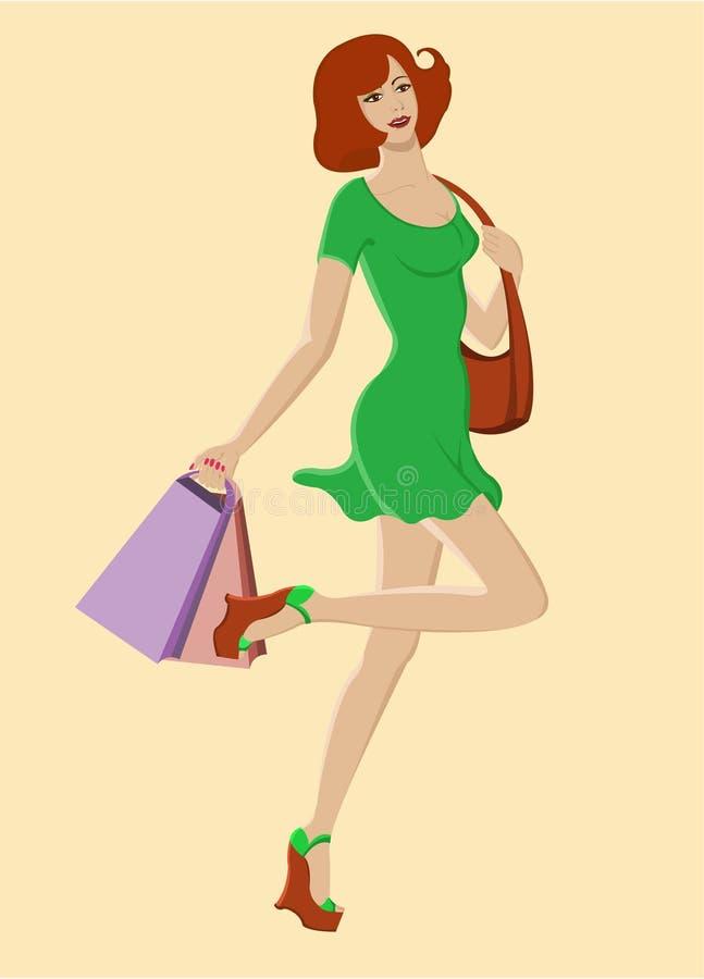 Menina feliz no vestido da forma e com sacos de compra ilustração royalty free