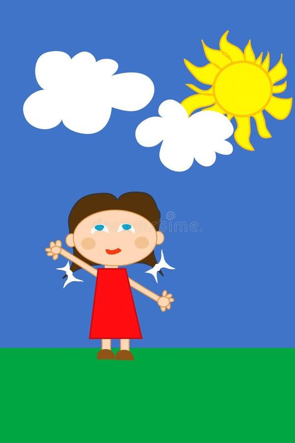 Menina feliz no vestido vermelho ilustração stock