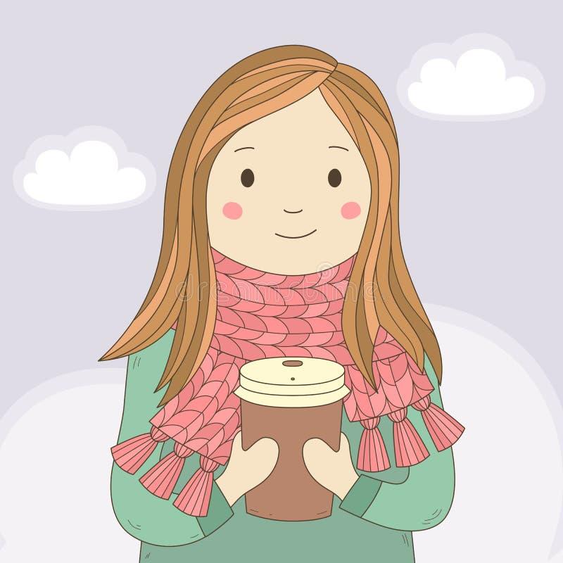 Menina feliz nova em um lenço feito malha com o copo do café ou do chá quente caráter Cartão da tração da mão Vetor ilustração stock