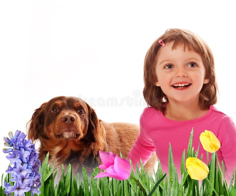 Menina feliz quatro anos velha e flor da mola foto de stock