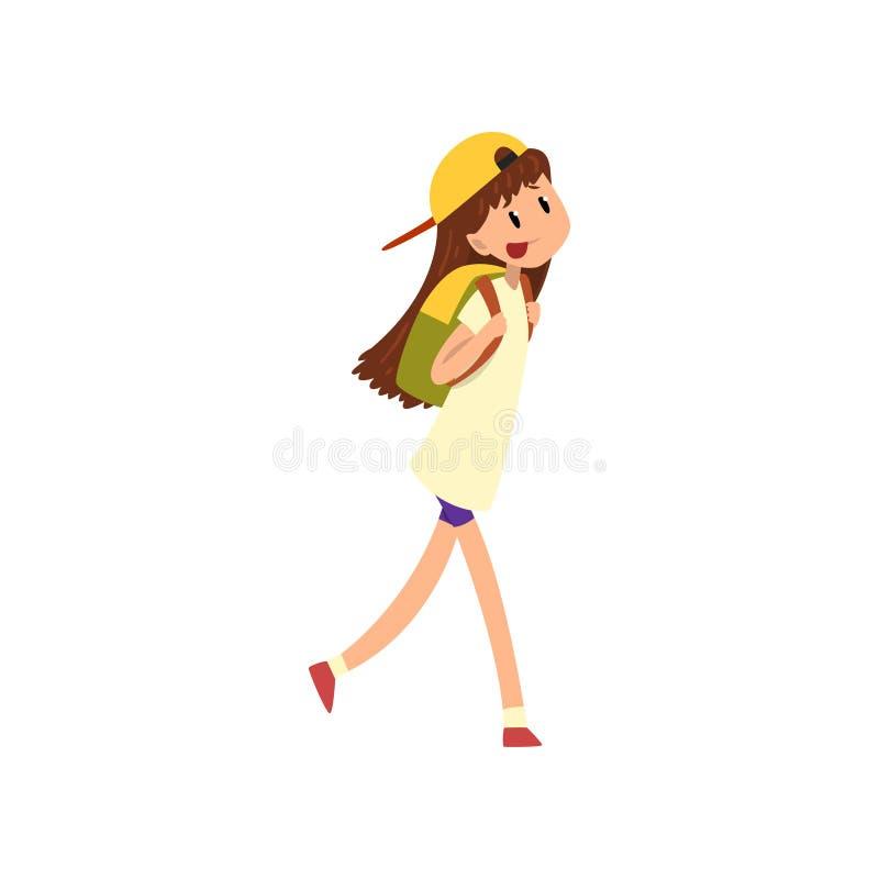 Menina feliz que anda com ilustração do vetor da trouxa em um fundo branco ilustração do vetor