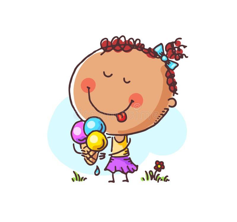 Menina feliz que aprecia seu gelado, ilustração do vetor ilustração stock