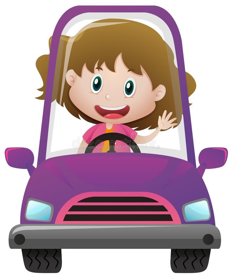 Menina feliz que conduz no carro roxo ilustração royalty free
