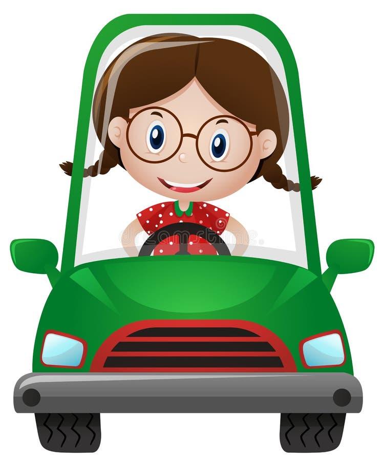 Menina feliz que conduz o carro verde ilustração stock