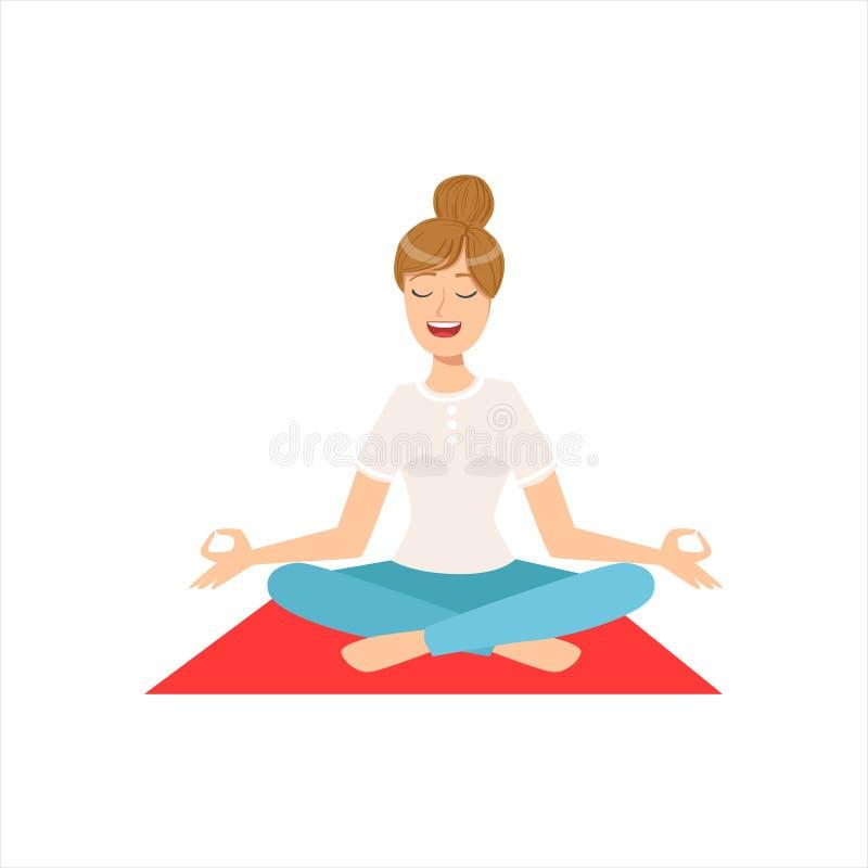 Menina feliz que faz a ioga Asana na classe da aptidão, parte da coleção diferente dos estilos de vida das mulheres ilustração royalty free