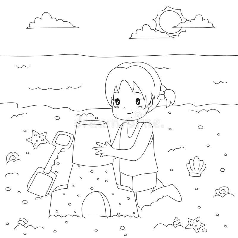 Menina feliz que faz o castelo da areia Vetor dos desenhos animados da página da coloração ilustração do vetor