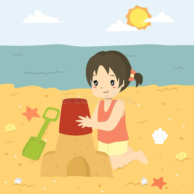 Menina feliz que faz um castelo da areia Jogo no vetor dos desenhos animados da praia ilustração do vetor