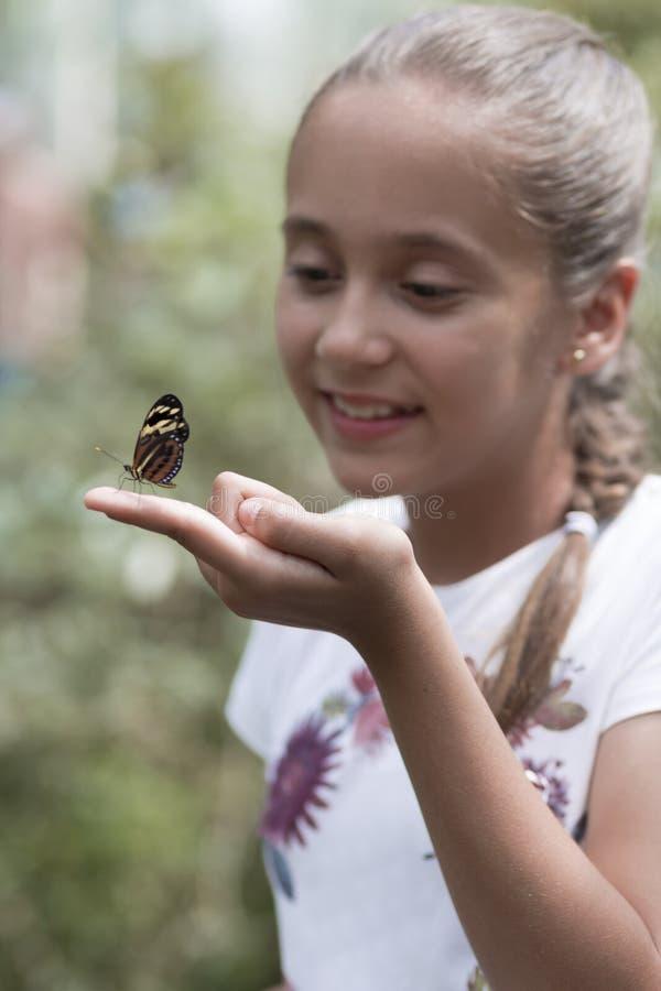 Menina feliz que guarda uma borboleta fotos de stock royalty free