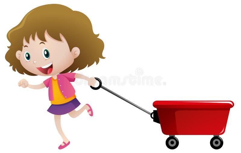 Menina feliz que puxa o vagão vermelho ilustração stock