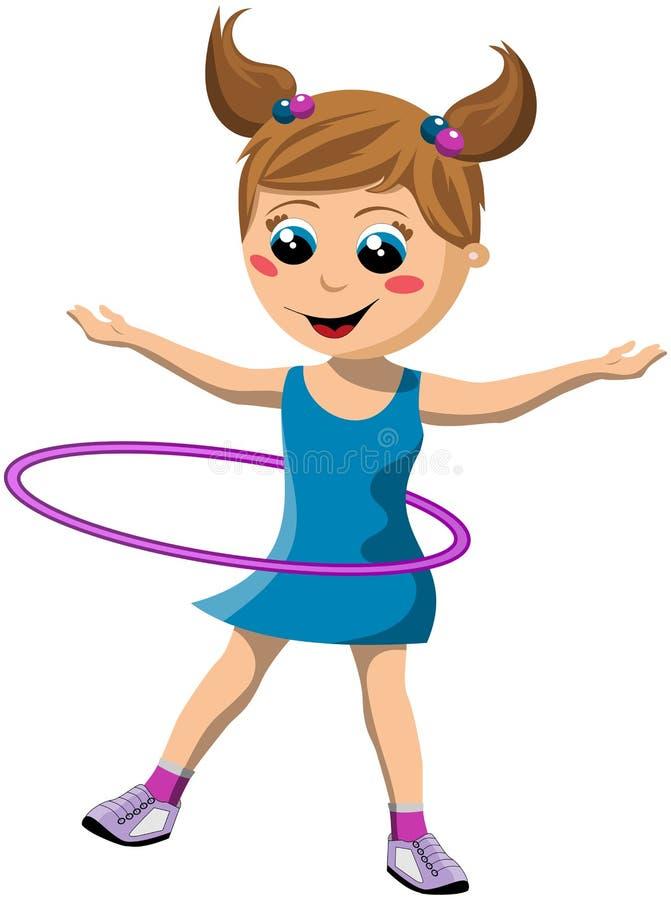 Menina feliz que rodopia a aro de Hula ilustração royalty free