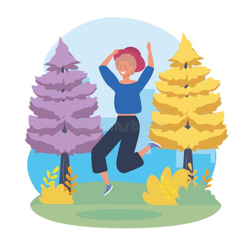 Menina feliz que salta com árvores de pinhos ilustração do vetor