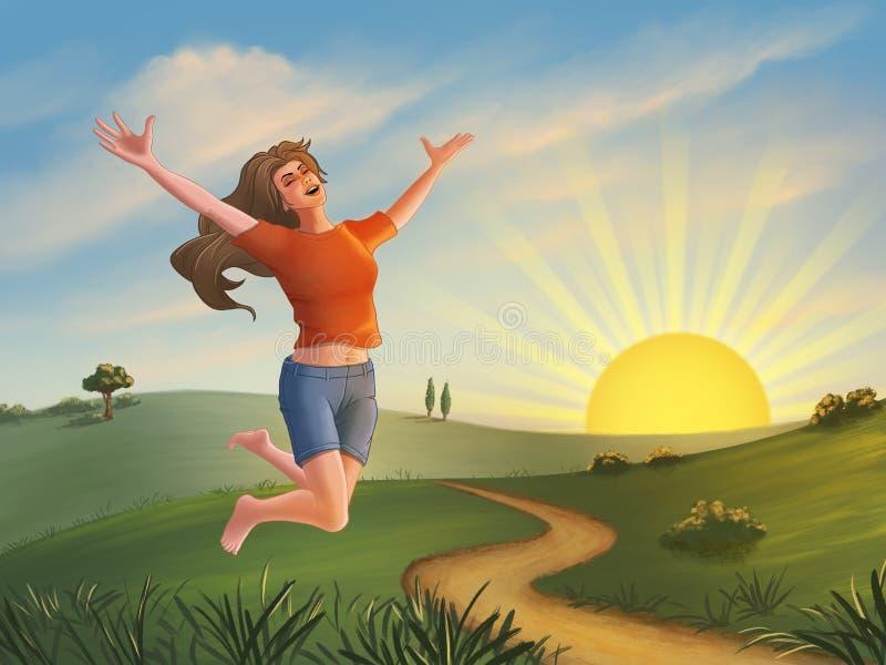 Menina feliz que salta sobre uma paisagem verde ilustração do vetor