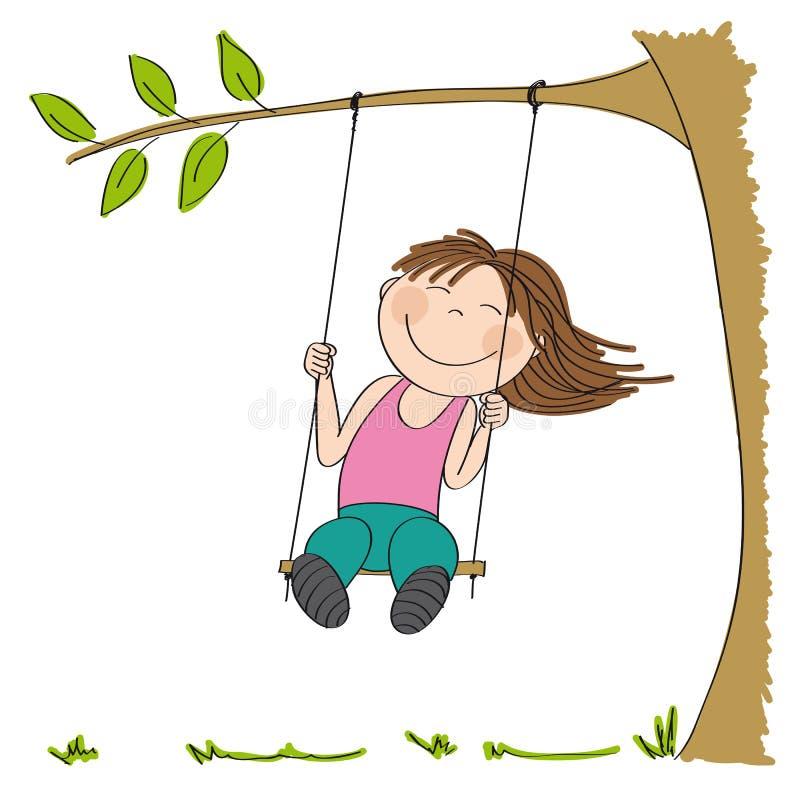 Menina feliz que senta-se no balanço, balançando sob a árvore ilustração stock