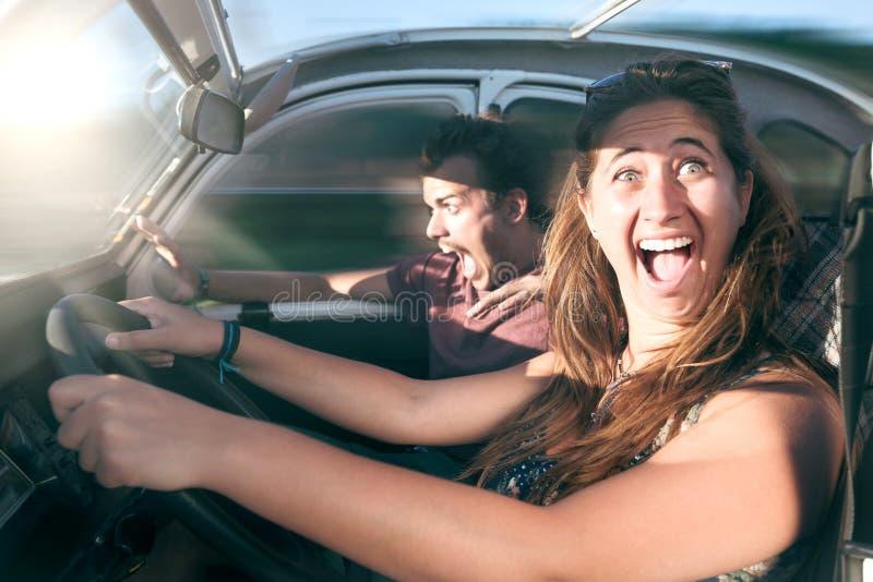 Menina feliz que toma lições de condução imagem de stock royalty free