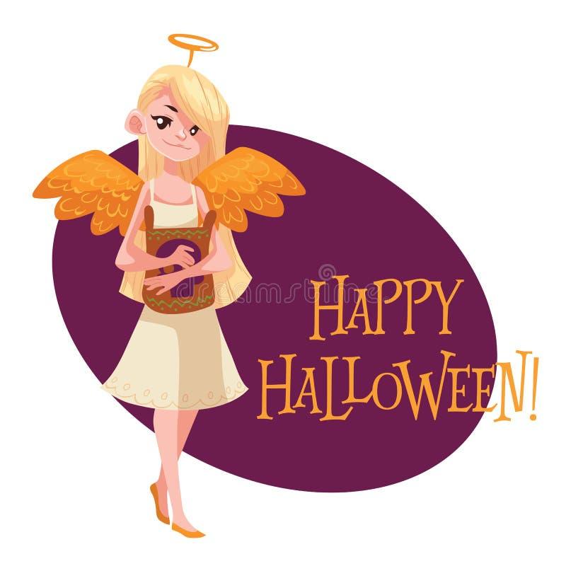 Menina feliz vestida como o anjo para Dia das Bruxas ilustração royalty free
