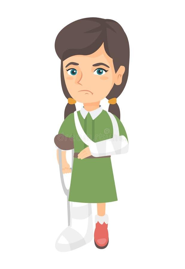 Menina ferida triste caucasiano com braço e pé quebrados ilustração royalty free