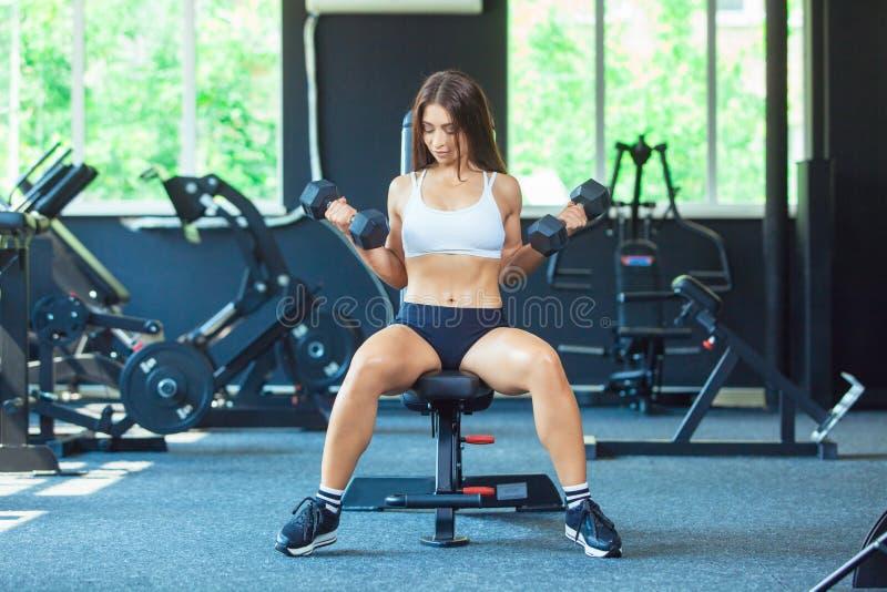 Menina focalizada desportiva nova da aptidão da forma atrativa que faz exercícios do bíceps ao sentar-se no instrumento de formaç fotos de stock