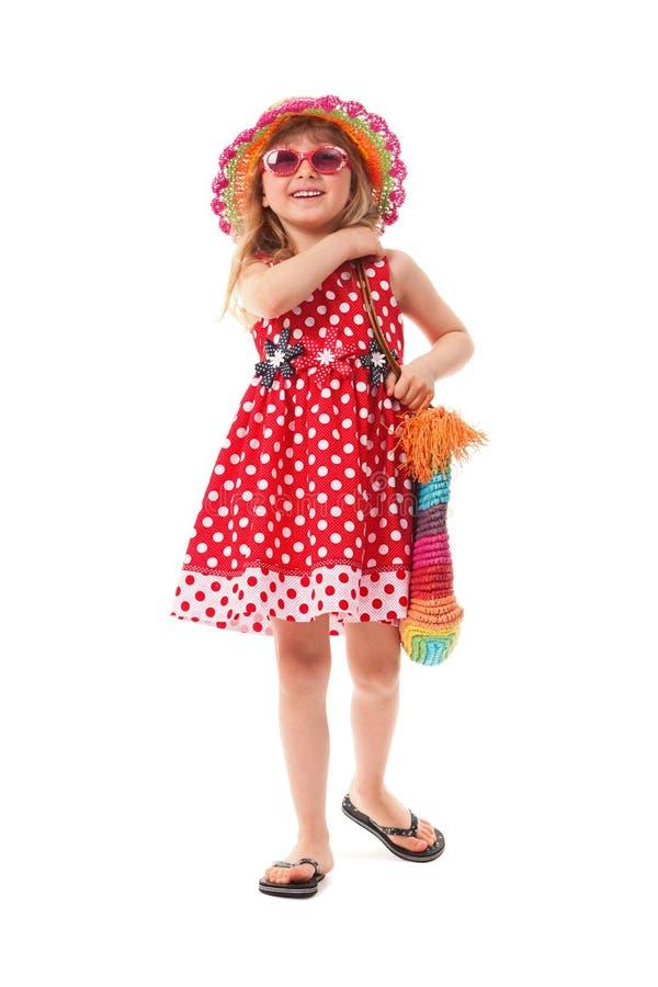 A menina foi vestida para a caminhada do verão imagem de stock royalty free