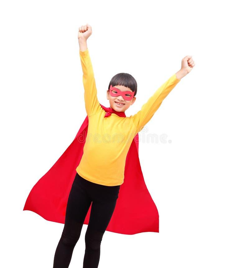 Menina forte do super-herói do winer fotos de stock