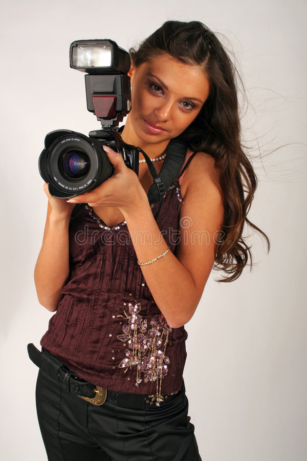 Menina - fotógrafo fotografia de stock royalty free