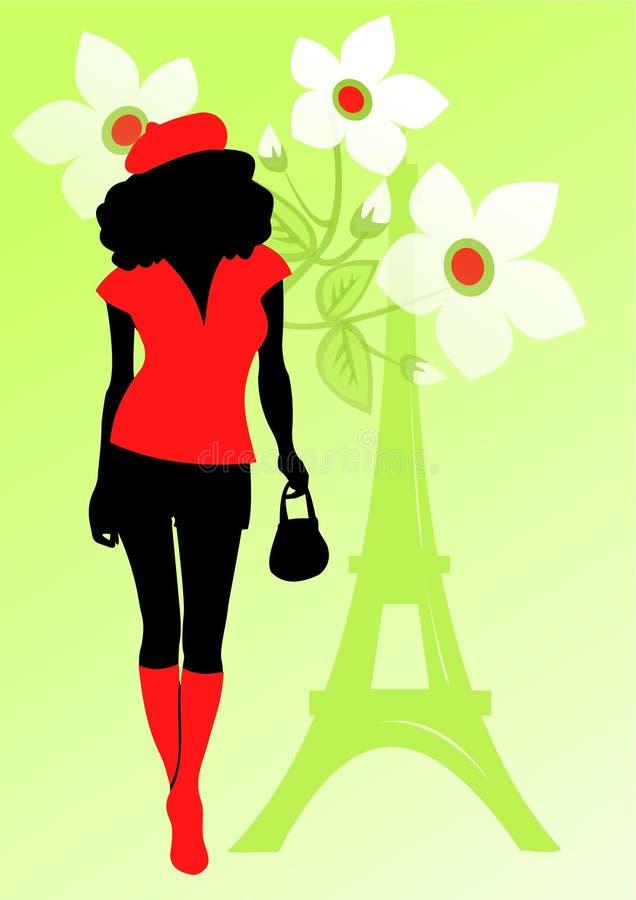 Menina francesa em um fundo verde ilustração stock